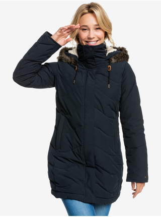 Černá dámská prodloužená prošívaná zimní bunda s kapucí a kožíškem Roxy Ellie