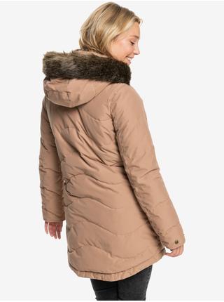Světle hnědá dámská prodloužená prošívaná zimní bunda s kapucí a kožíškem Roxy Ellie