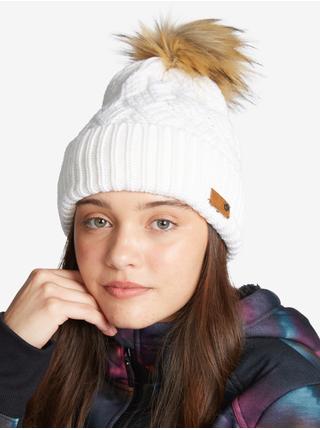 Bílá dámská žebrovaná zimní čepice s bambulí Roxy Ski Chic