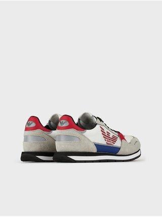 Červeno-šedé pánské kožené tenisky Emporio Armani