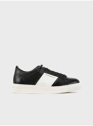 Bílo-černé pánské kožené tenisky Emporio Armani