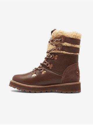 Hnedé dámske členkové kožené topánky s kožúškom Roxy Brandi
