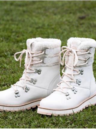 Biele dámske členkové kožené topánky s kožúškom Roxy Brandi