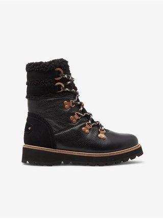 Čierne dámske členkové kožené topánky s kožúškom Roxy Brandi