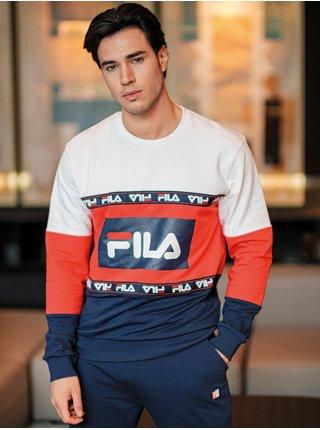 Bielo-červeno-modré pánske vzorované pyžamo FILA