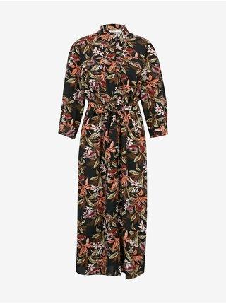 Černé midišaty s květovaným vzorem Only Nova Lux