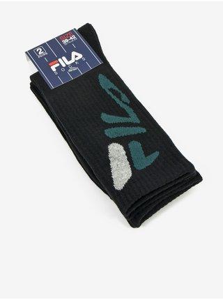 Sada dvoch párov pánskych vzorovaných ponožiek v čiernej farbe FILA