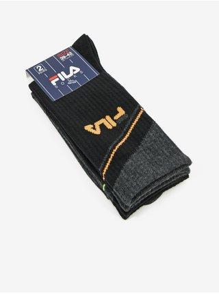 Sada dvoch párov pánskych vzorovaných ponožiek v šedo-čiernej farbe FILA