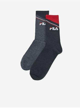 Sada dvoch párov pánskych vzorovaných ponožiek v šedej a tmavomodrej farbe FILA