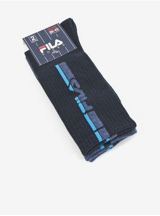 Sada dvoch párov pánskych vzorovaných ponožiek v modrej farbe FILA