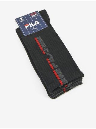 Sada dvoch párov pánskych vzorovaných ponožiek v šedej a čiernej farbe FILA
