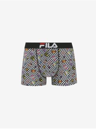 Čierno-biele pánske vzorované boxerky FILA