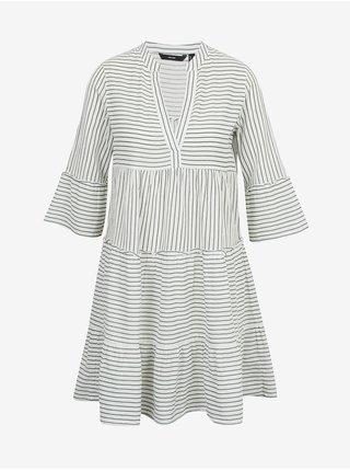 Zeleno-bílé pruhované volné šaty VERO MODA