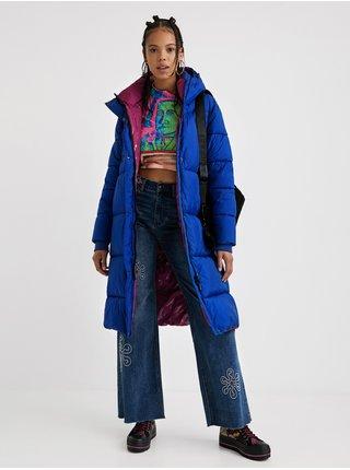 Modrý dámsky prešívaný zimný kabát Desigual Corea