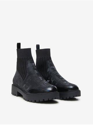 Černé dámské kotníkové boty Desigual Biker Sock