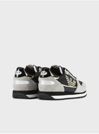 Čierno-šedé dámske kožené tenisky Emporio Armani