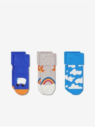 Sada troch párov modrých vzorovaných ponožiek Happy Socks