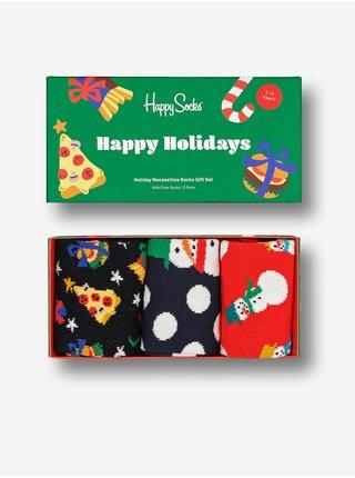 Sada troch párov čiernych, modrých a červených ponožiek s vianočným motívom Happy Socks