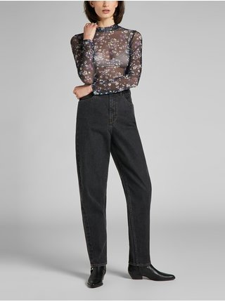 Čierne dámske priesvitné kvetované tričko Lee Printer