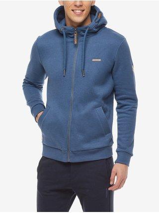 Modrá pánská mikina na zip s kapucí Ragwear Nate Zip