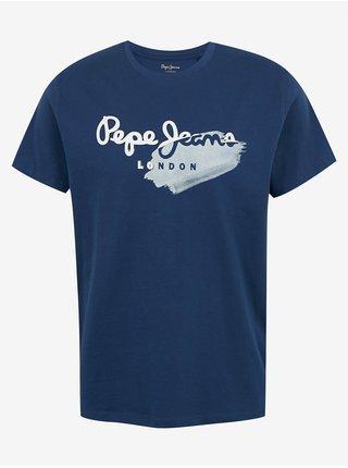 Tričká s krátkym rukávom pre mužov Pepe Jeans - tmavomodrá