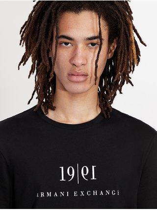 Černé pánské tričko s potiskem Armani Exchange