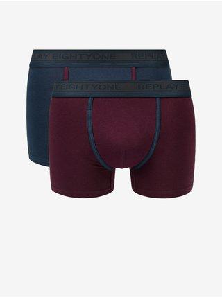 Boxerky Boxer Style 6 Cuff Logo&Contrast Piping 2Pcs Box - Dark Blue/Bordeaux Replay