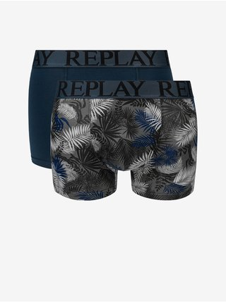 Boxerky Boxer Style 7 T/C Foliage 2Pcs Box - Dark Blue/Black Replay