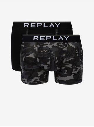 Boxerky Boxer Style 8 Cuff Logo&Camouflage 2Pcs Box - Black/Camou Black Replay