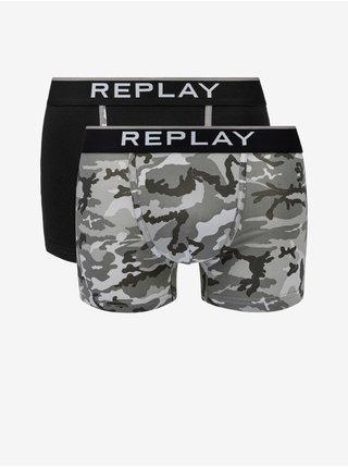 Boxerky Boxer Style 8 Cuff Logo&Camouflage 2Pcs Box - Black/Camoufl Grey Replay