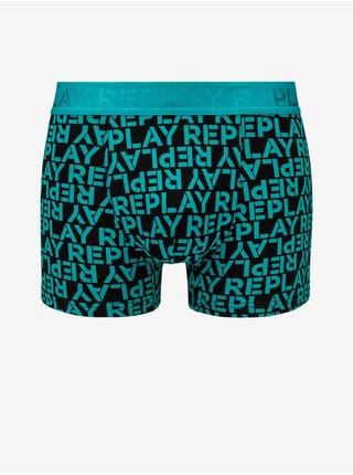 Boxerky Boxer Style 3 T/C All Over Logo 2Pcs Box - Emerald/Black Replay