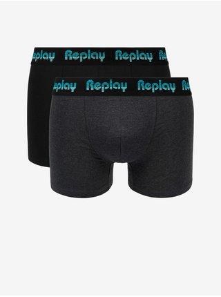 Boxerky Boxer Style 5 Jacquard Logo 2Pcs Box - Black/D Gmel/Azure Replay
