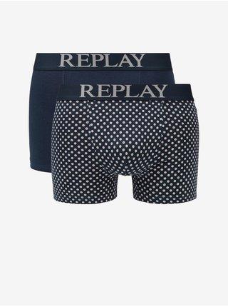 Boxerky Boxer Style 7 Cuff Logo&Print 2Pcs Box - Dark Blue/Light Grey Replay