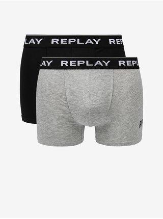 Boxerky Boxer Style 2 Cuff Logo&Print 2Pcs Box - Black/Grey Melange Replay