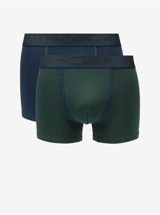 Boxerky Boxer Style 6 Cuff Logo&Contrast Piping 2Pcs Box - Dark Blue/Dark Green Replay