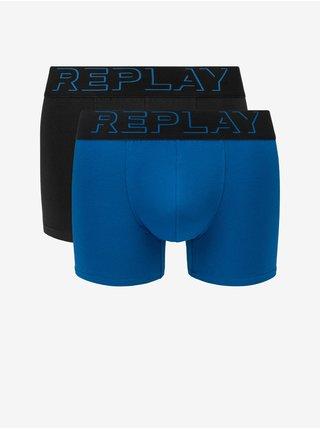 Boxerky Boxer Style 2 T/C Cuff 3D Logo 2Pcs Box - Cobalt Blue/Black Replay