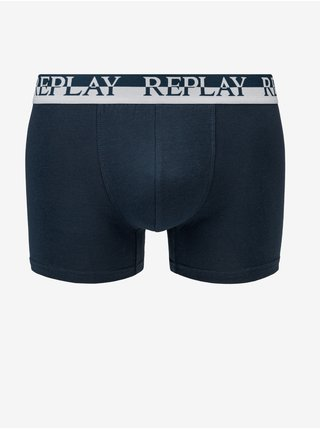Boxerky Boxer Style 02/C Logo Cuff Bicolor 2Pcs Box - Indigo/Whitee Replay