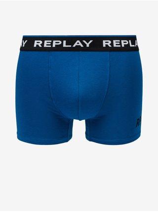 Boxerky Boxer Style 2 Cuff Logo&Print 2Pcs Box - Black/Cobalt Blue Replay