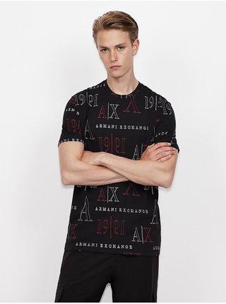 Černé pánské vzorované tričko Armani Exchange