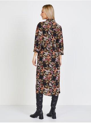 Čierne midišaty s kvetovaným vzorom Only Nova Lux