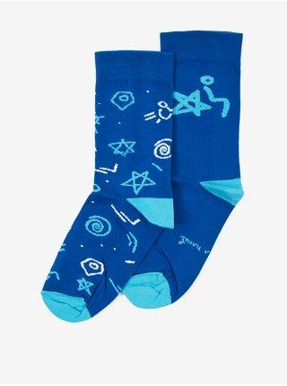 Modré pánské vzorované ponožky DOBRO.