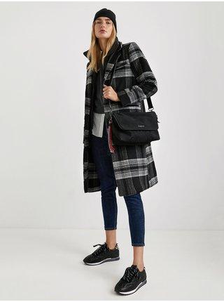 Šedo-černý dámský károvaný kabát s příměsí vlny Desigual Agatha Christie