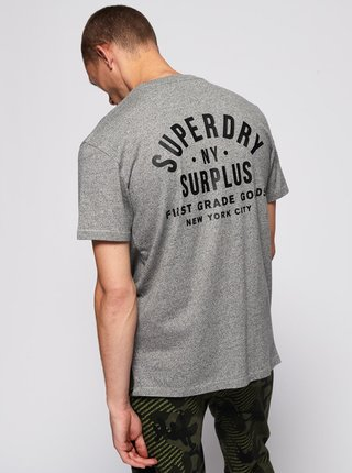 Šedé pánské tričko s potiskem Superdry