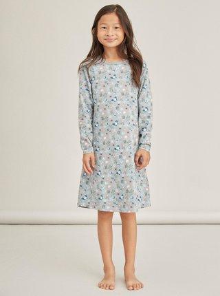 Světle modrá holčičí květovaná noční košile name it