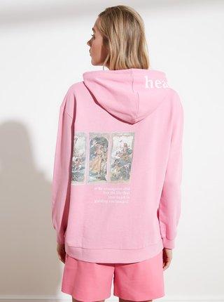 Růžová mikina s potiskem na zádech Trendyol
