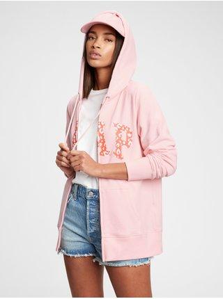 Růžová dámská mikina GAP Logo easy hoodie
