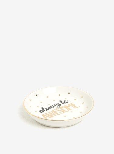 Puntíkovaný talířek na šperky ve zlaté a krémové barvě Sass & Belle Always Be Awesome