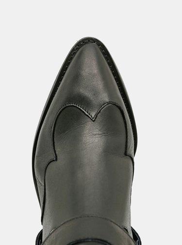 Čierne kožené členkové topánky Selected Femme Abigail