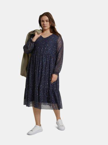 Tmavomodré dámske vzorované šaty My True Me Tom Tailor