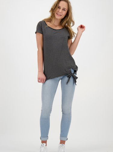Tmavomodré dámske pruhované tričko Alife and Kickin